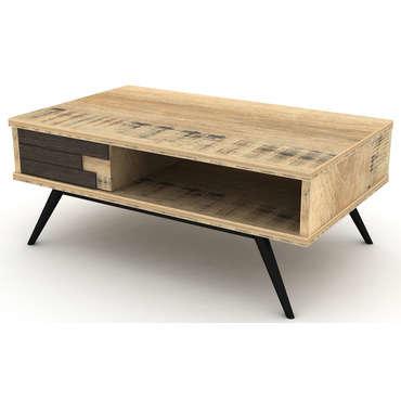 Table basse rectangulaire ETHNICA coloris gris/noir, pieds en métal